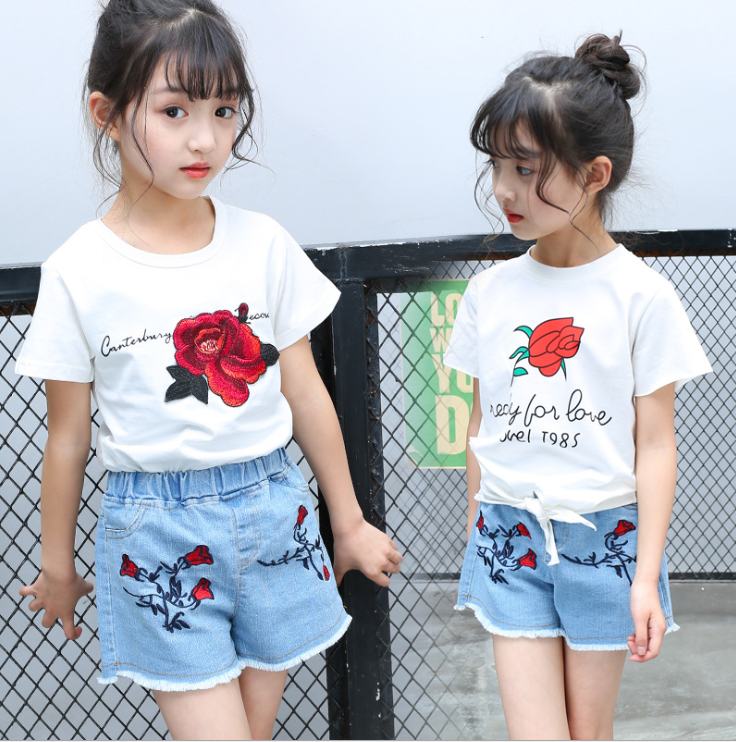 X61957A Baby Girl Flower T-Shirt+Rose Embroidery Ripped Denim Short 2Pcs Kids Clothes Sets