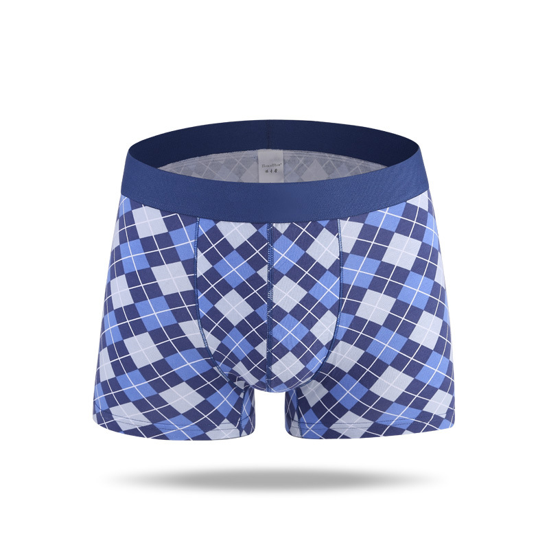 Mens cotton check boxer shorts trunk pants underwear briefs