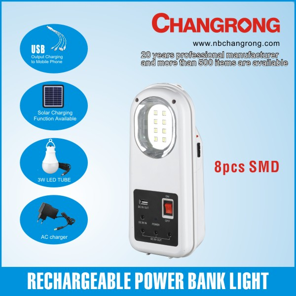 rechargeable mobile home solar system with smd led lamp USB solar panel led bulb lights