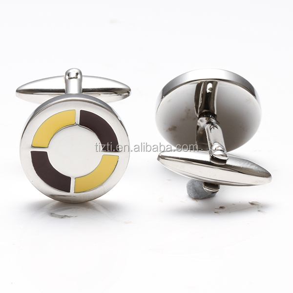 Fashion customzied stainless steel round shirts cufflinks blank cufflink manufacturer