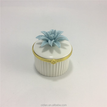 Ceramic flower jewelry packing box, ceramic jewelry box