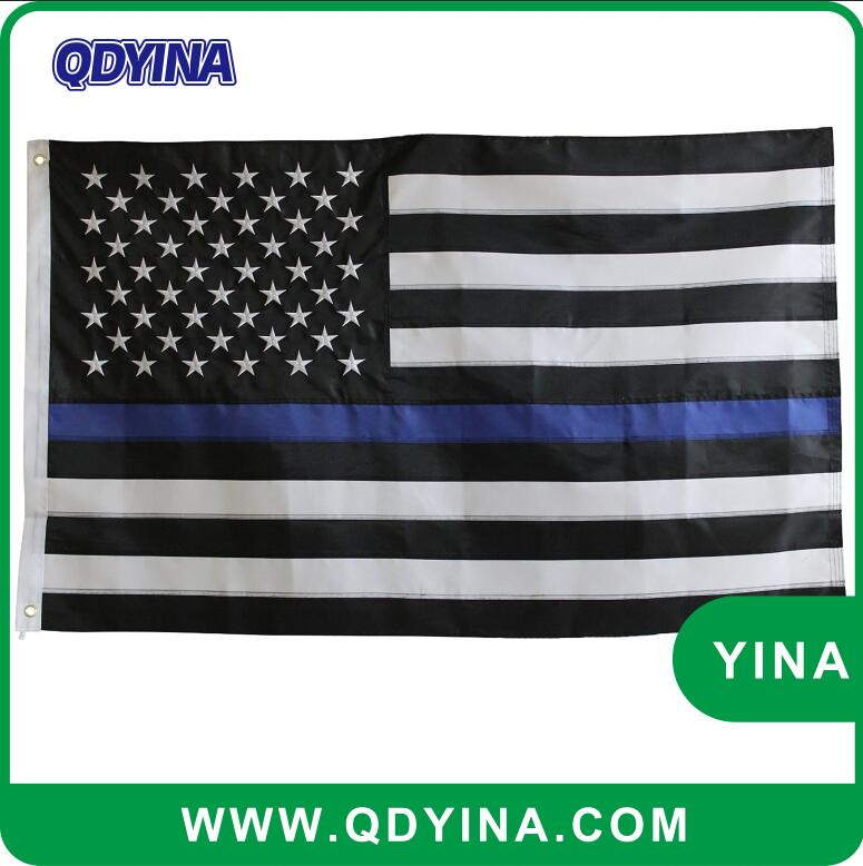 high quality American Flag Thin Blue Line Embroidered flag Stars decorative american flags and banners