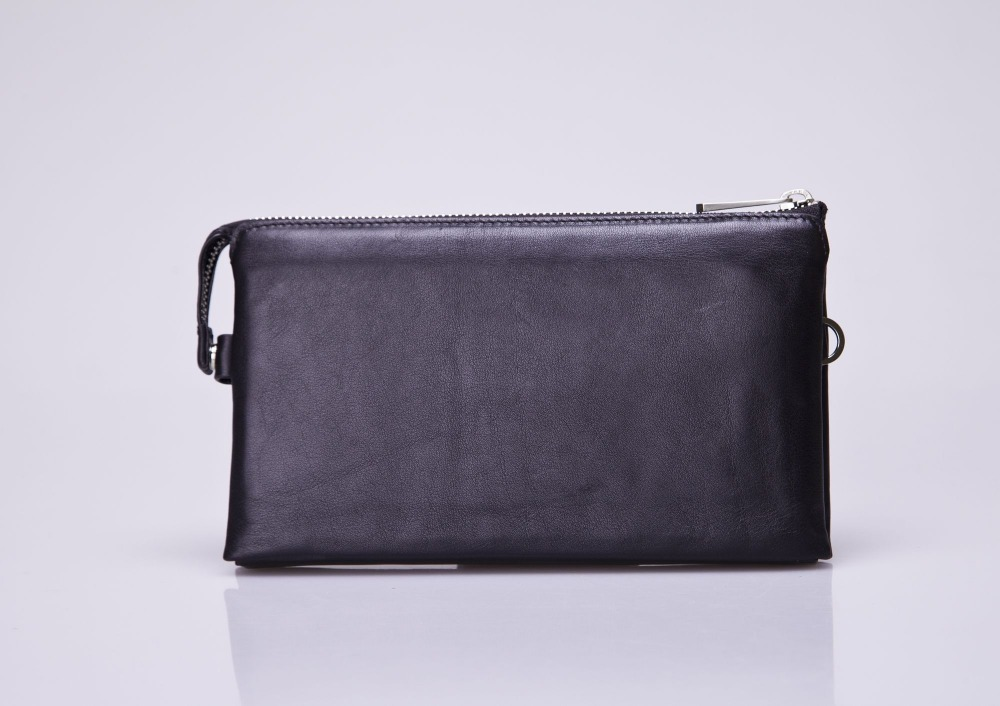 Hot Selling European custom high quality vintage black leather plain men clutch bag