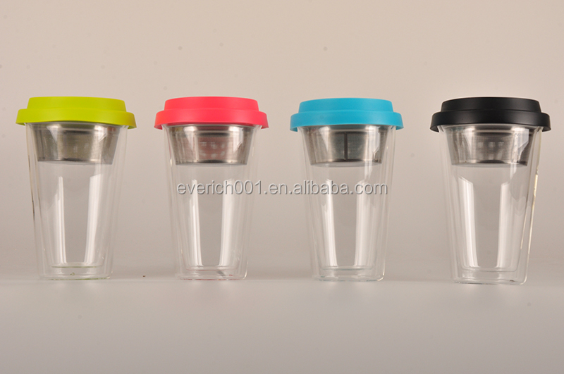 300ml Double Wall Glass Mug With a strainer inside