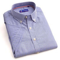 alibaba in spain factory price fashion dress 65%polyester 35%cotton blue stripe short sleeve new design stylish shirts for man