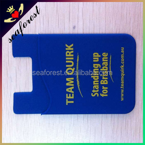 Custom logo printing 3m sticky Silicone Smart Phone Wallet/Phone Pouch/Card Holder