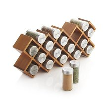 Eco- friendly natrual bamboo kitchen wall mounted spice jar storage organzie rack with 18 bottles spice jars
