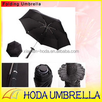 "New Design Japaness Samurai Sword 23""*7K 3-folding Auto Open and Close Pongee Umbrella with pounch in self-fabric pounch"