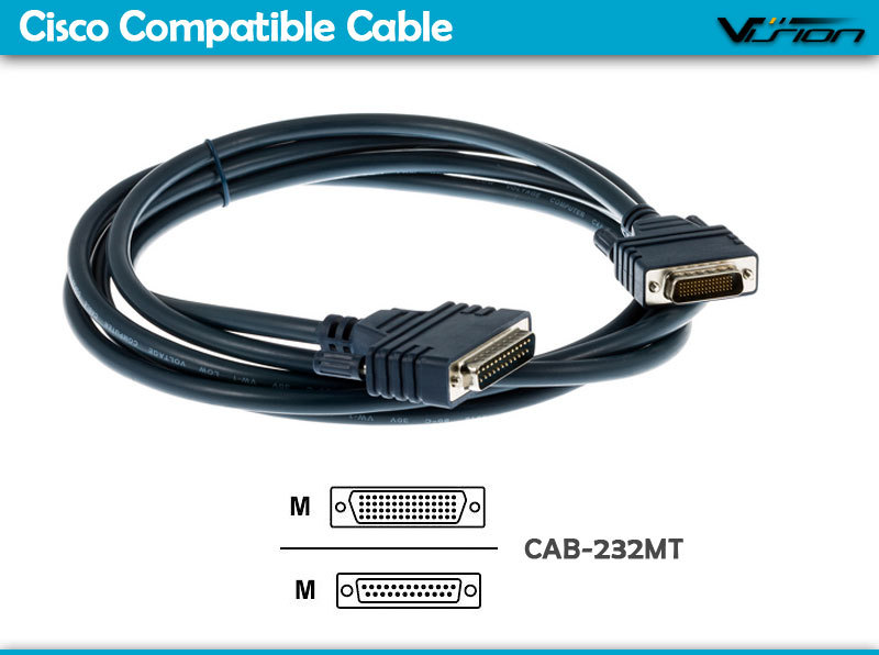 10FT Cisc0 DB60 Male to DB25 male RS-232 DTE Cable CAB-232MT