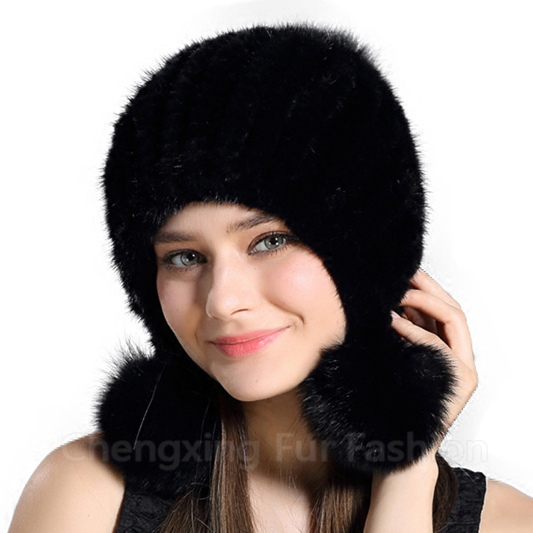 CX-C-131E 2017 New Design Russian Style Winter Knitted Women Mink Fur Hat