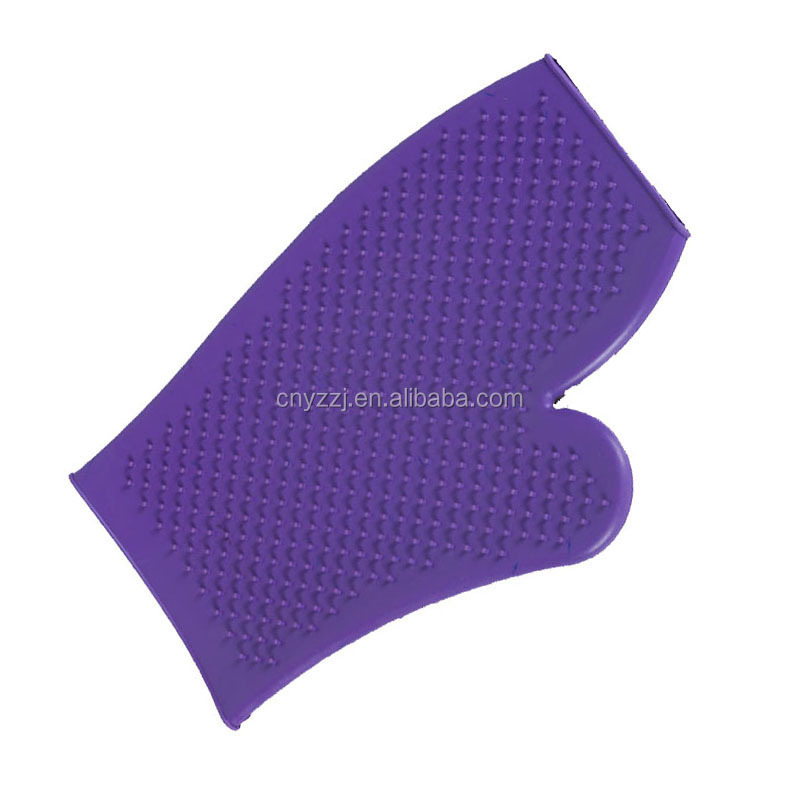 Hot Sale Small Rubber Pet Nylon Fur Massage Gloves Glove