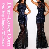 Navy Lace Satin Patchwork Thailand Party Maxi Dress Low Moq