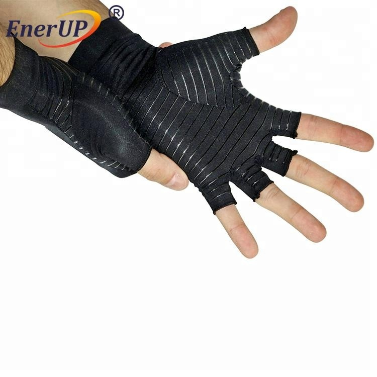 Black Copper Hands Compression half finger <strong>Gloves</strong>