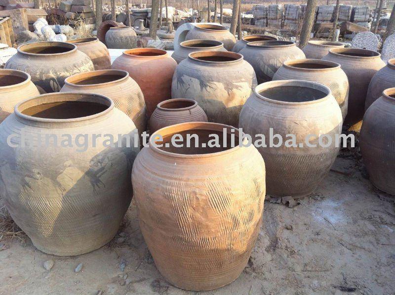 Antique Large Round Clay Pot