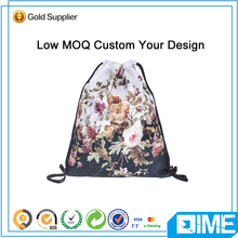 Newly flower pattern printed ladies drawstring backpack gym sports bag