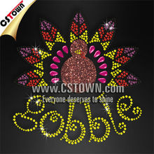Lead free rhinestone thanksgiving design childrens bling transfers wholesale
