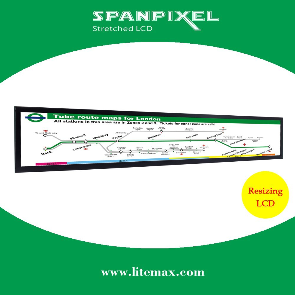 LITEMAX 36 inch outdoor industrial high brightness sunlight readable1000 nits stretched bar LED LCD display monitor