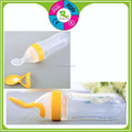 Fashion BPA free newborn food feeder squeezed silicone baby spoon
