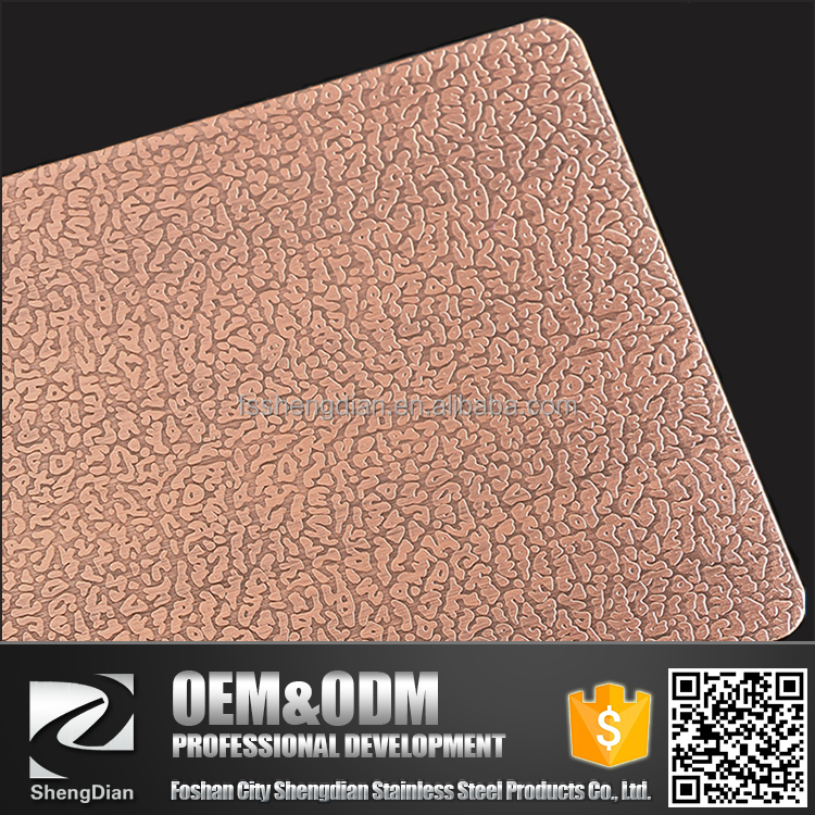 Factory Supply Cold Rolled Copper Coating Color Embossed Decorative Stainless Steel Sheet