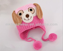 Wholesale Lovely Animal Dog Shaped Knitted Earflap Winter Kids Hat with Pom poms