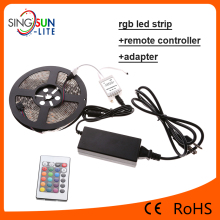 Gift package 12V RGB SMD 5050 3528 5M Led Strip+2A power+24 Keys IR Remote