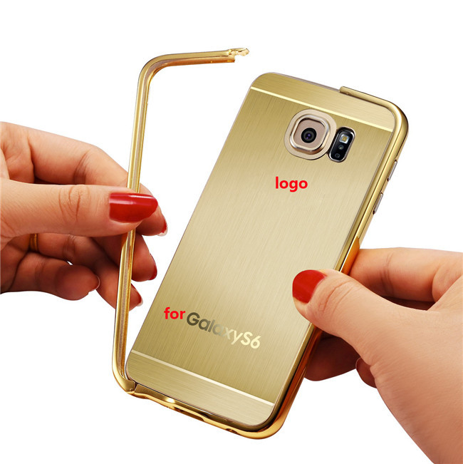 Gold Glossy Brushed Back Cover+Metal Alloy Border Case for Samsung Galaxy S6/ S6 Edge Aluminum Metal Border Fundas Coque