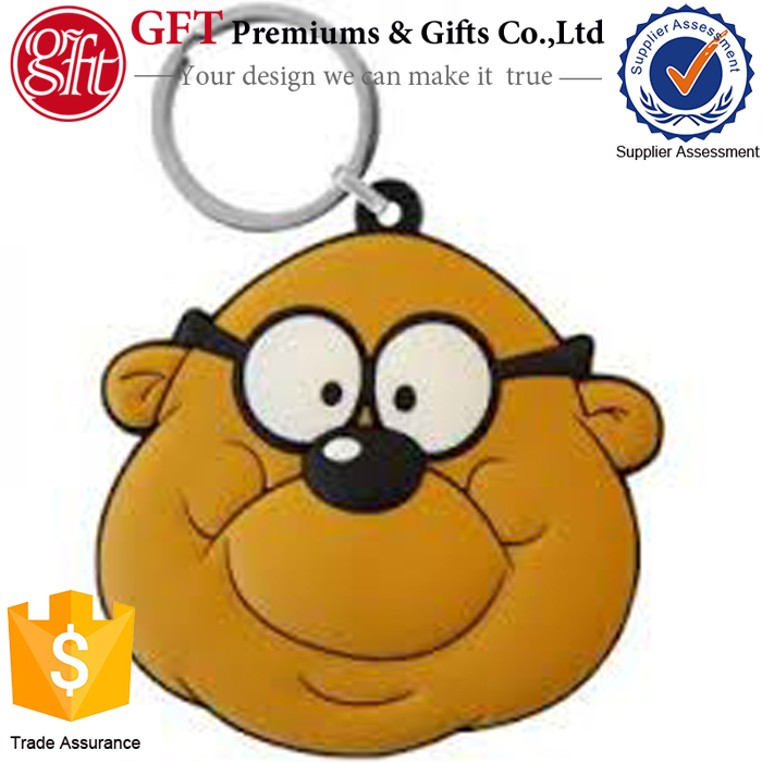 Custom made  soft 3D rubber PVC monkey head key chain