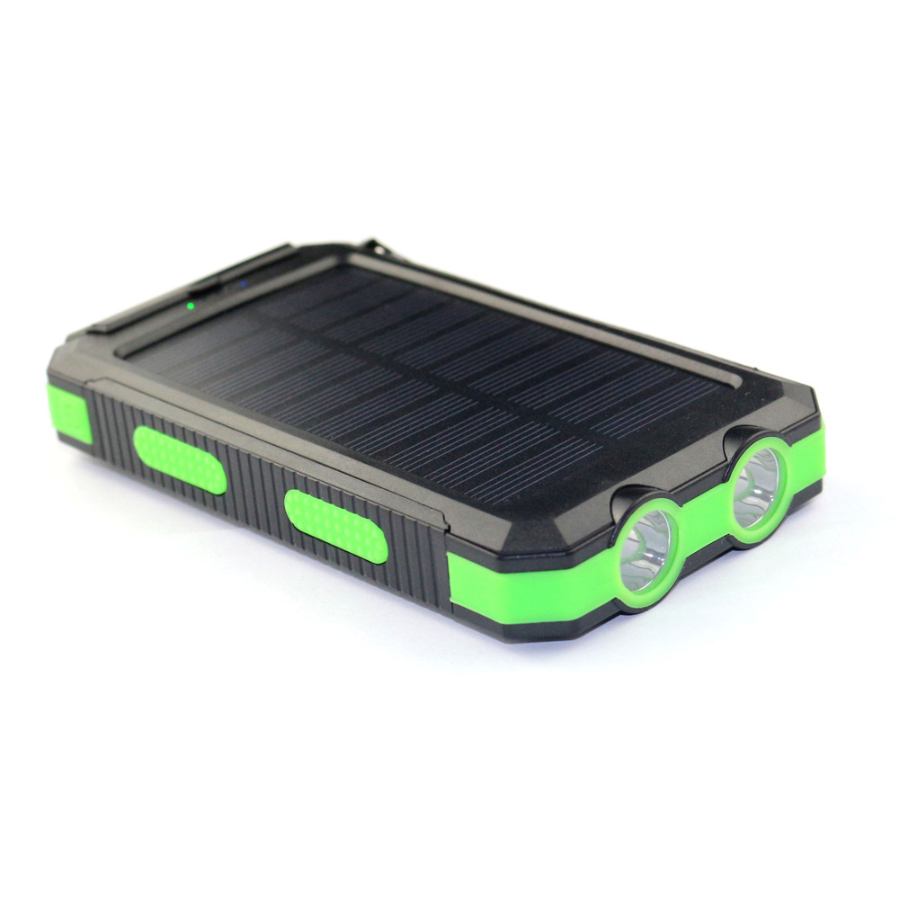 Waterproof 10000mah power bank solar charger dual USB output portable solar power bank chargers with led light