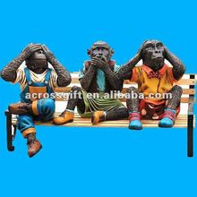 Cute decoration resin monkey statues