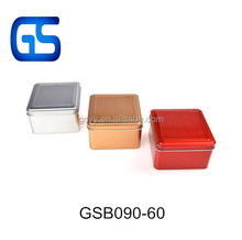 square sweets packing tin boxes with hinge lid multi-functional metal soap tin box