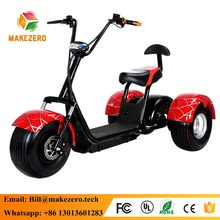 2017 factory sale directly powerful 1000w 3 wheel harley electric scooter citycoco with fat tire for adults