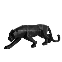 New style abstract fiberglass black panther statue for sale
