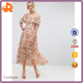 2017 New Design Printed Maxi Dress Hot Selling Summer Ladies Dress