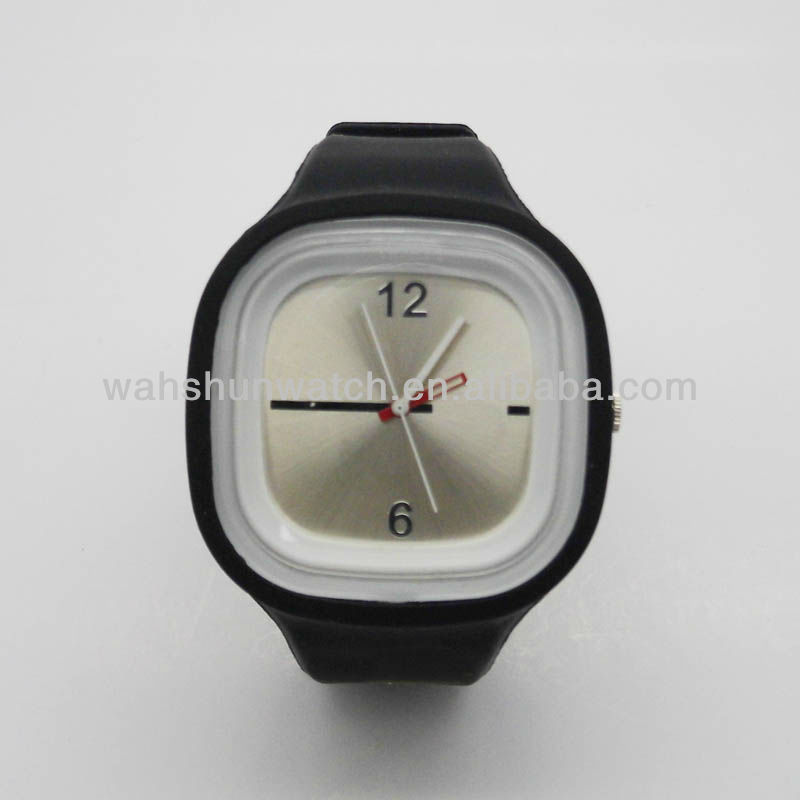 Promotional Colourful jelly square silicone wrist watch