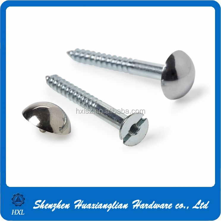 Round head polished stainless steel decorative mirror screw