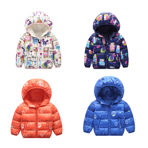 Infant baby girls winter cotton-padded jacket thicken hooded printed coat Children's unisex kids outerwear short down coat
