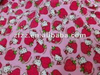 coral fleece fabric with lovely hello kitty design
