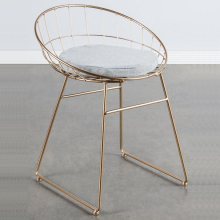 Triumph gold plating steel mesh moon chair with cushion / glossy gold metal chairs dining room furniture