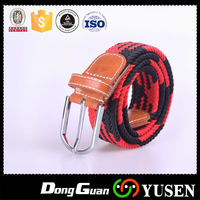 Women's Two Tone Braided Leather Inlay Stretch Knitted Belt