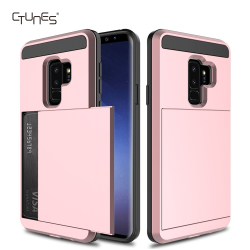 Sliding Card Holder Dual Layer Hybrid TPU Bumper Protection Defender Shockproof Wallet for Samsung Galaxy S9 Plus Case