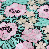 multicolor & guipure thin style cotton&polyester water soluble lace fabric for fashion lady dress