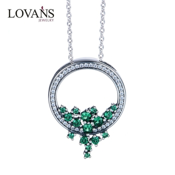 Fashion 925 Silver Emerald Stone Necklaec For Women Jewelry Wholesale