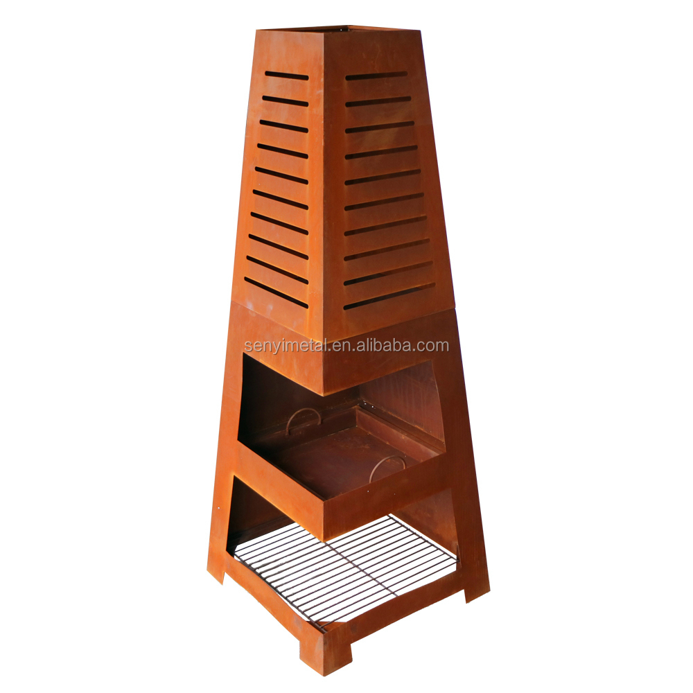 Fashion corten steel timber chiminea lowes for patio heating
