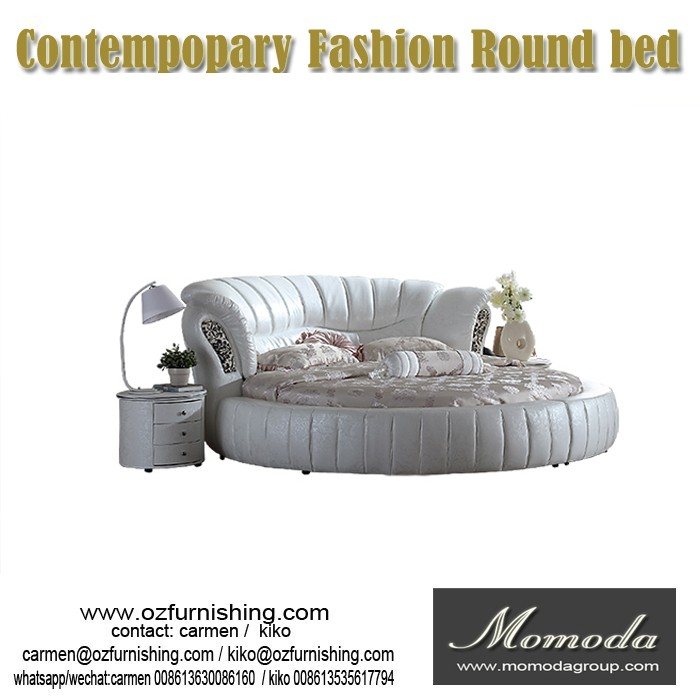 C011MOMODA modern style leather round bed soft bed