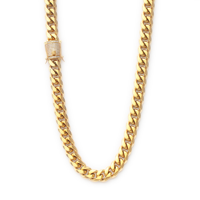 Missjewelry Heavy Stainless Steel Miami Cuban Link 18K Gold Plated Chain Necklace <strong>Jewelry</strong>