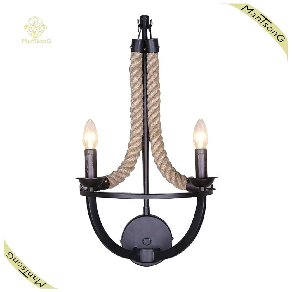 American Country Style Light Rope Iron Industrial Loft Wall Lamp E14 with 2 Lights 40W Antique Vintage Wall Light