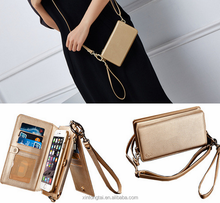 PU Leather stand phone case handbag Mobile case with shoulder straps