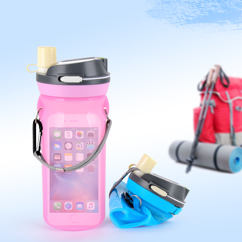 BPA Free Collapsible Silicone Sport Water Bottle with Lantern