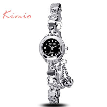 KIMIO Brand Heart Pendant Alloy Bracelet Watches Women