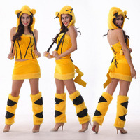 Woman Halloween Popular Cartoon Animal Pikachu Cosplay Mascot Costume